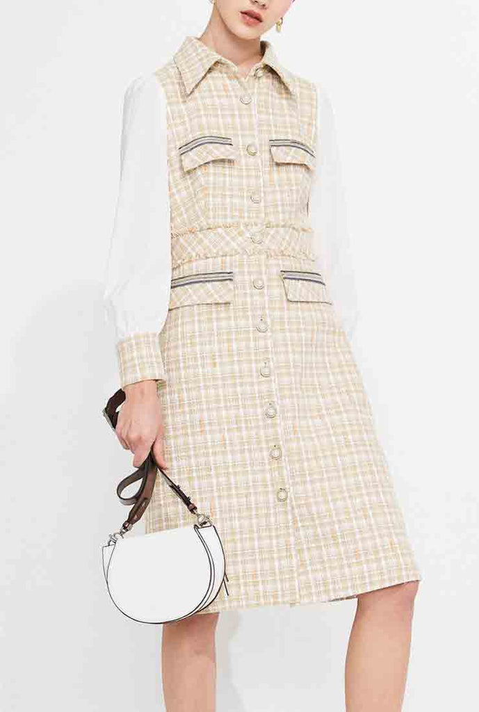 Long Sleeve Tweed Plaid Mini Dress