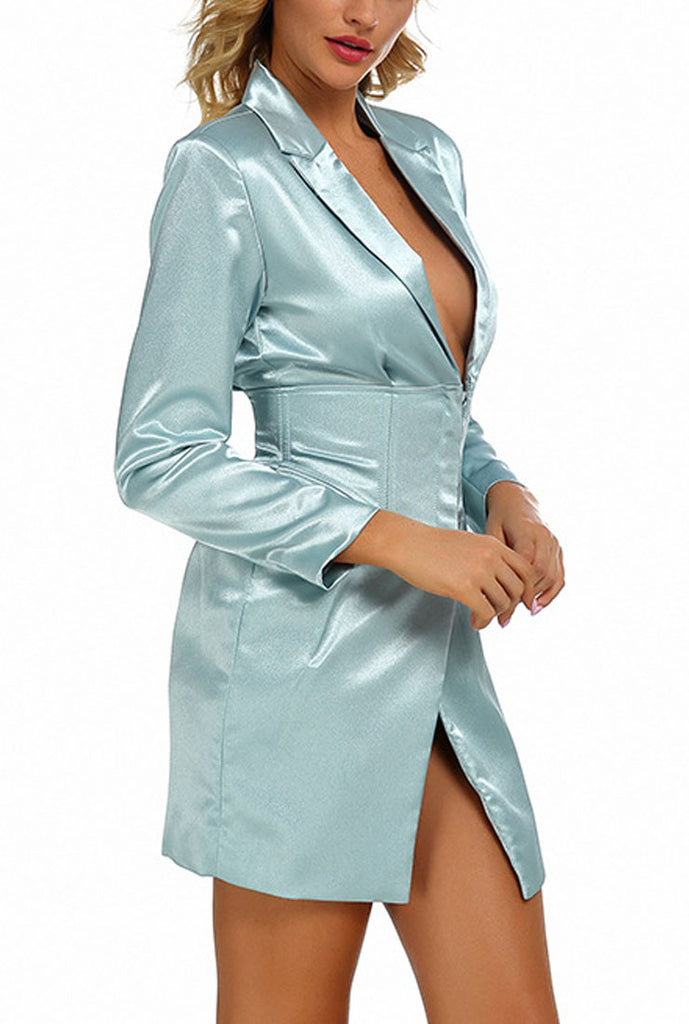 Long sleeved Satin Blazer Mini Dress