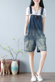 Loose-Fit 100% Cotton Ripped Distressed Short Overalls