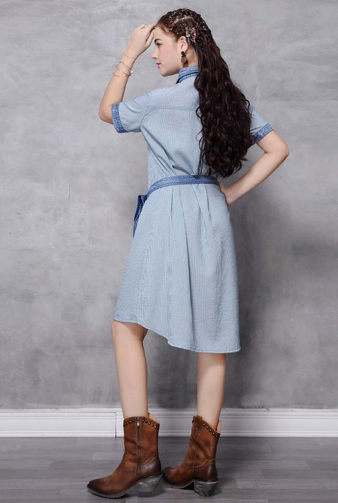 Loose-Fit Striped Embroidered Denim Shirt Dress (With Belt)