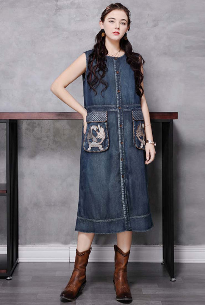 Loose-Fit Vintage Embroidered A-Line Vest Dress