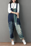 Loose-Fit Distressed Ripped Denim Wide-leg Overalls