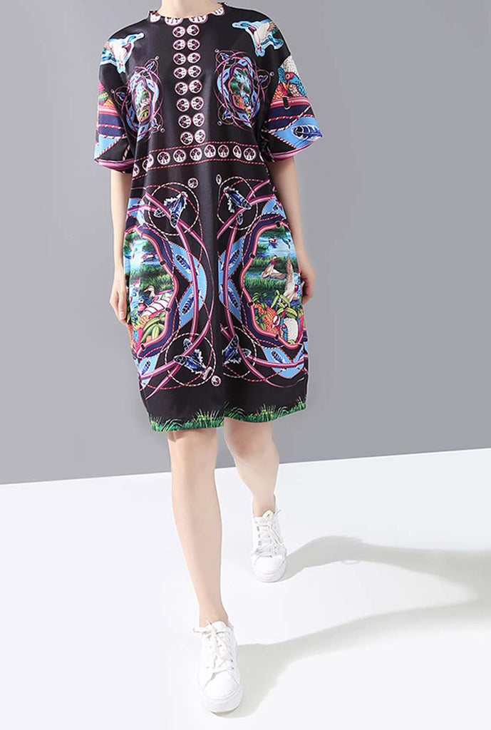 Loose-Fit Ethnic Printed Midi Shift Dress