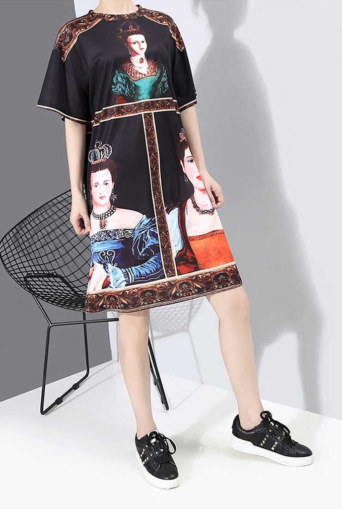 Loose-Fit Printed Short Sleeves Mini Shift Dress