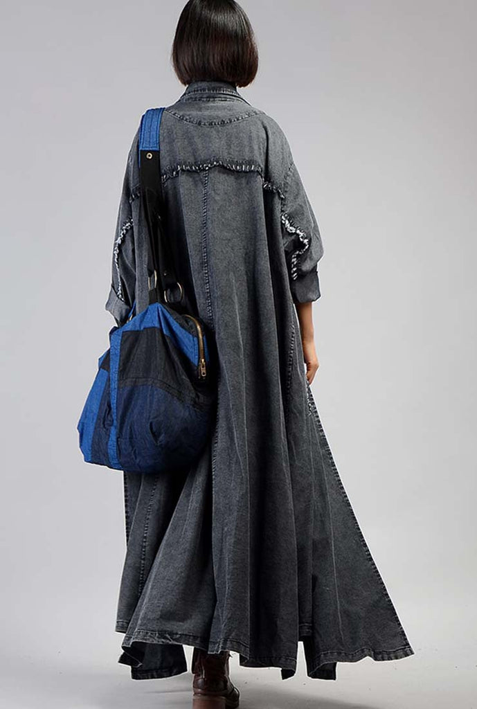 Loose-Fit Solid Color Simple Denim Coat