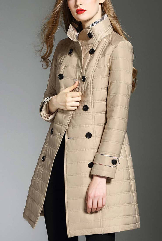 Loose Belted Double-breasted Quilted Puffer Coat