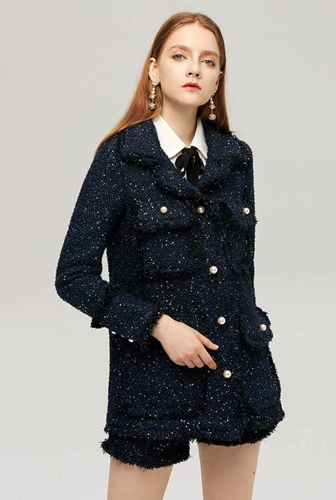 Loose Celebrity Tweed Coat