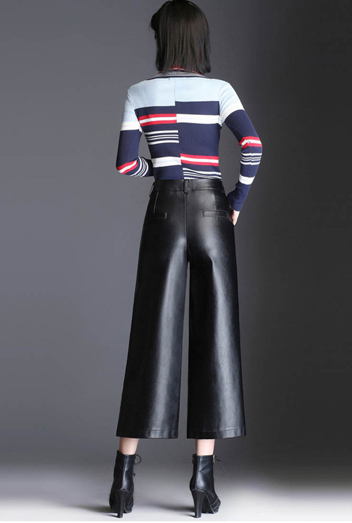 Loose Cropped Wide Leather Pants