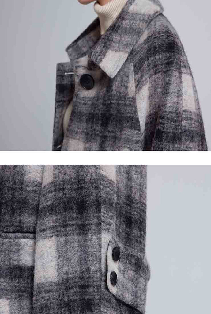 Loose Long Plaid Woolen Blend Coat