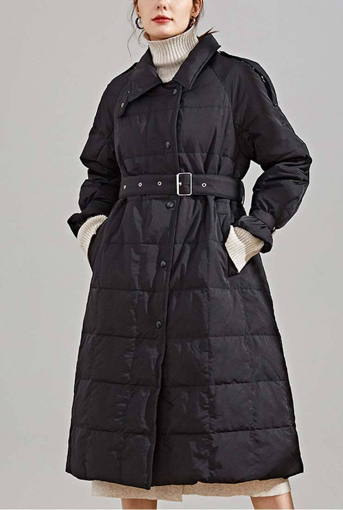Loose Long White Duck Down Coat With Belt