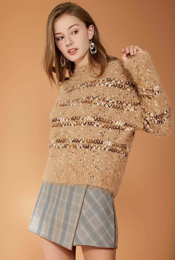 Loose Shape Plush Knitted Pullover Sweater