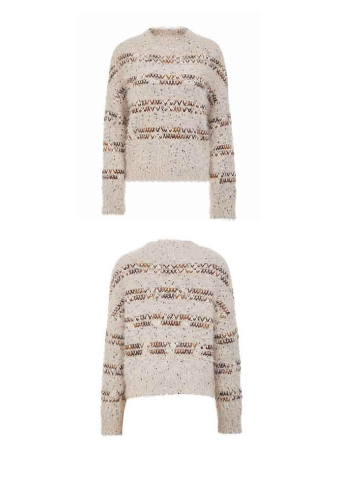 Loose Shape Fuzzy Knitted Pullover Sweater