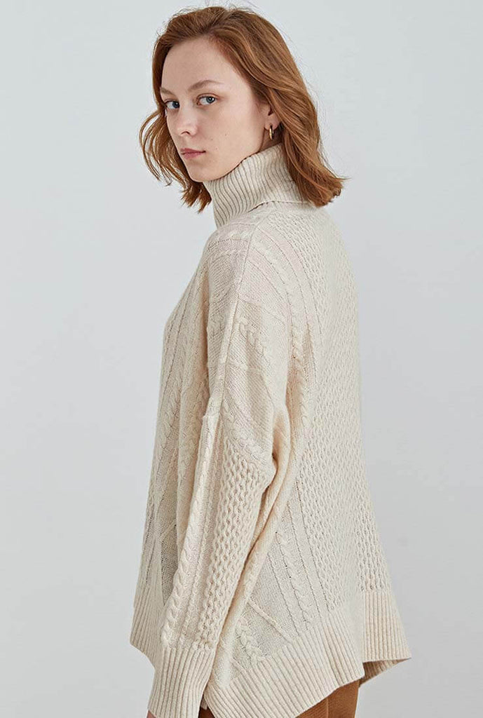 100% Wool Loose Turtleneck Pullover Cardigan
