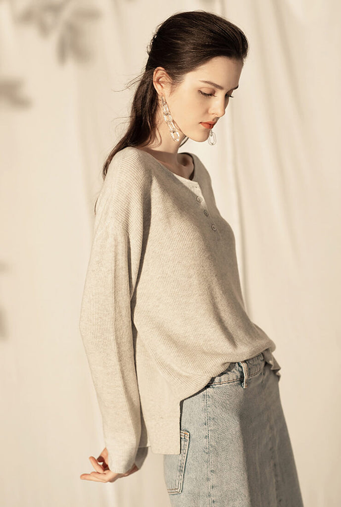 Loose Wool Knit Pullover Sweater
