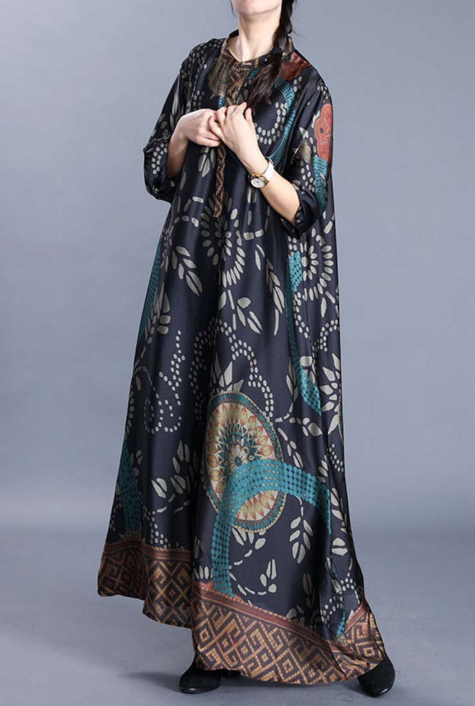 Luxury Silk Floral Print Loose-Fit Shift Dress