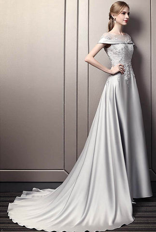 Luxury Elegant Grey Satin Off-the-shoulder Ballgown