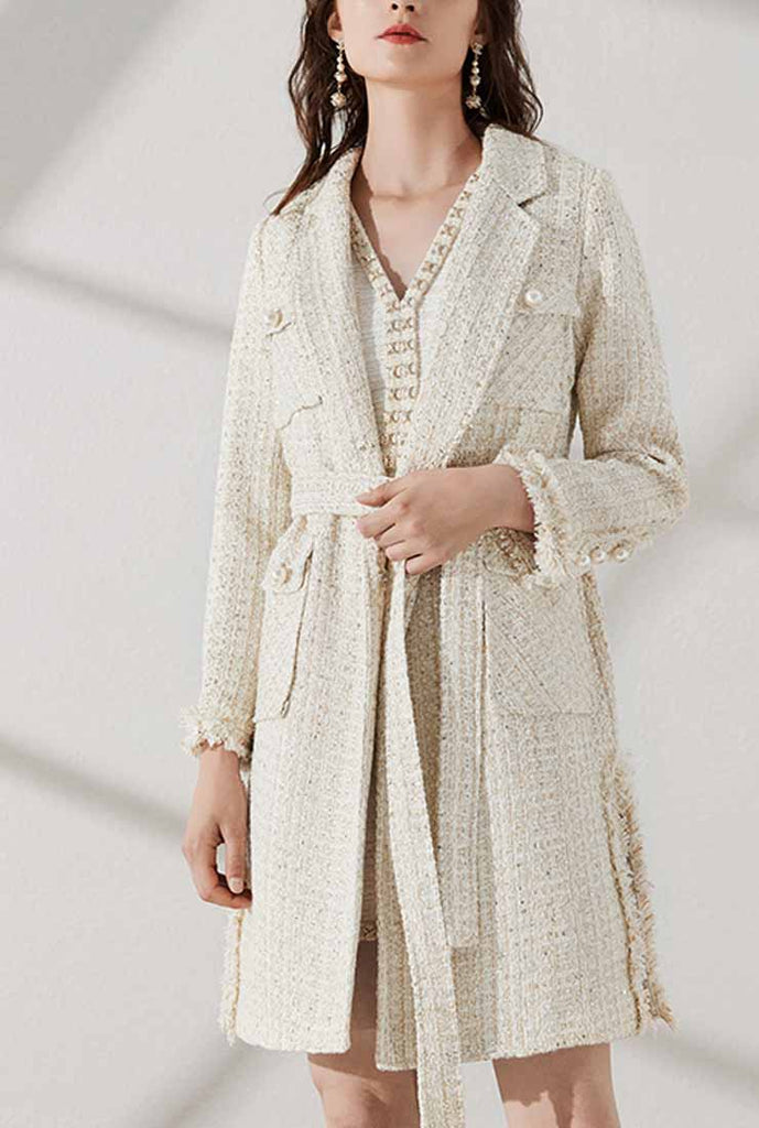 Medium Length Lapel Collar Tweed Coat