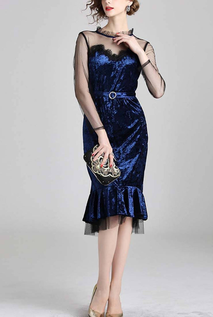 Mesh Velvet Fishtail Midi Bodycon Dress