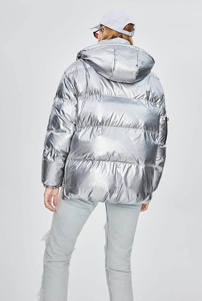 Metallic Hooded Thicken Down Bubble Jacket