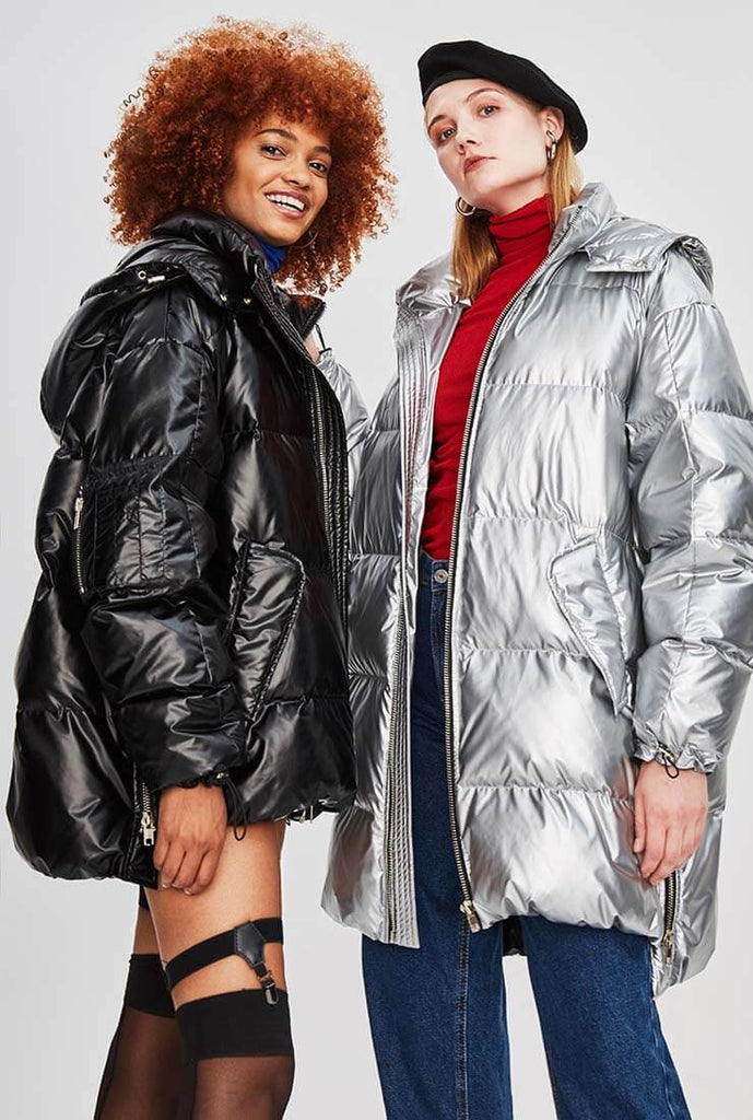 Metallic Hooded Thicken Down Bubble Long Coat