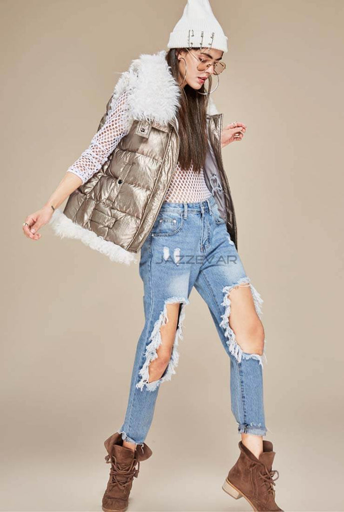Metallic Lamb Hair Stitching Down Vest