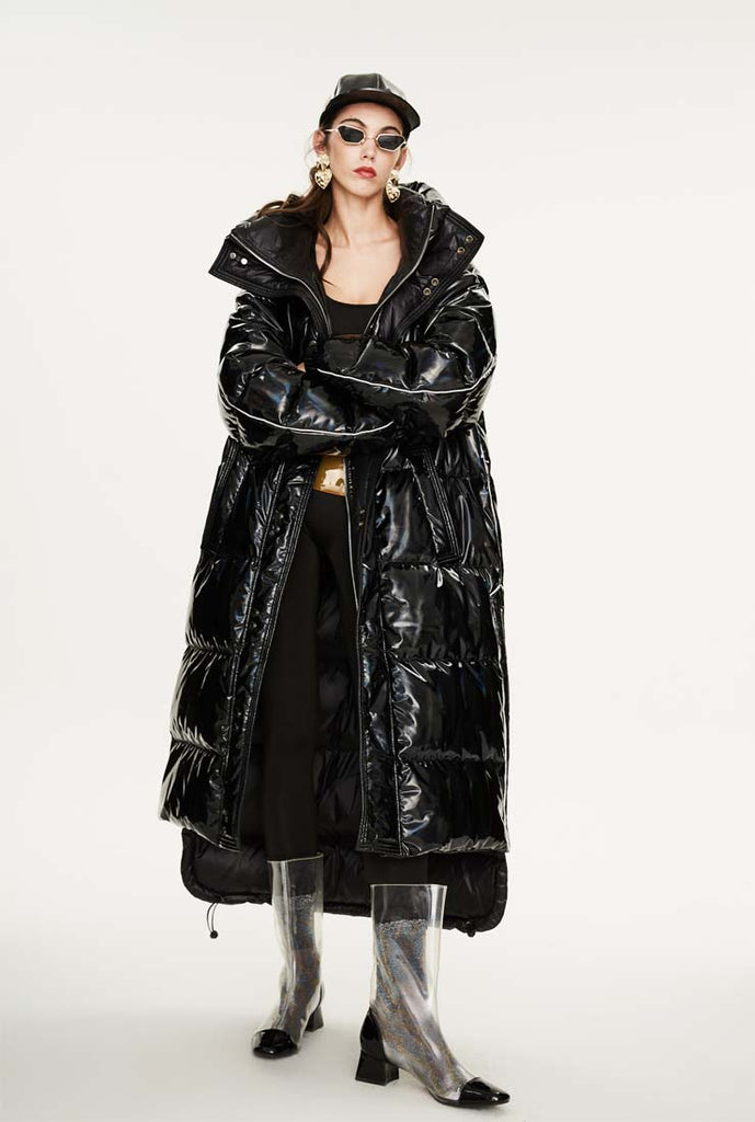 Mettalic Loose Warm Bubble Ankle Length Coat