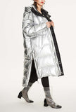Metallic Loose Warm Bubble Ankle Length Coat
