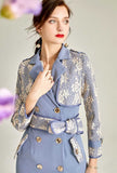 Mid-length Blue Lace Trench Coat