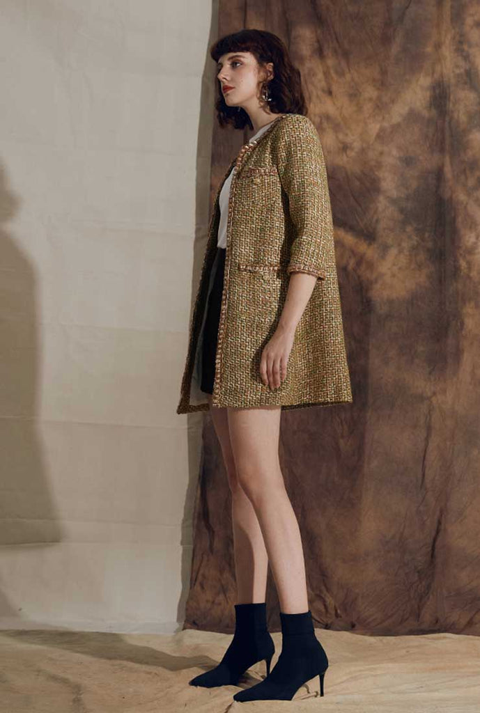 Mid-length Cropped Sleeves Oliver Green Tweed Coat