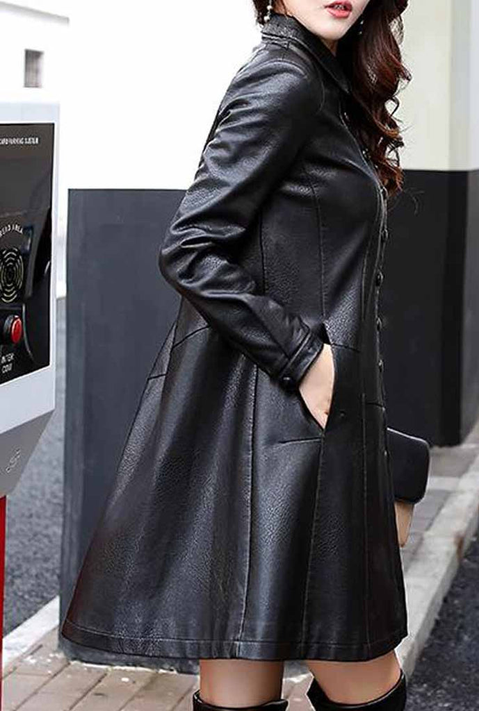 Mid-length Leather A-line Trench Coat