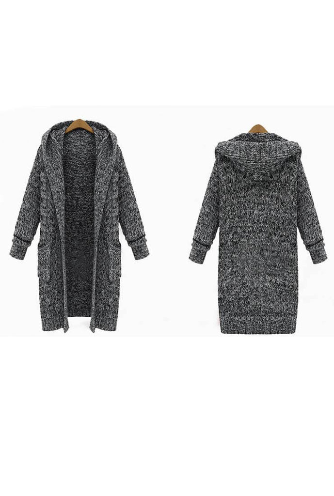 Mid-length Thick Hooded Sweater Cardigan Plus Size