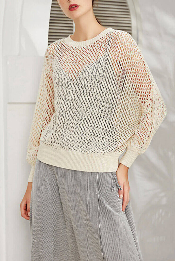 Mult-color Hollow Loose Pullover Sweater