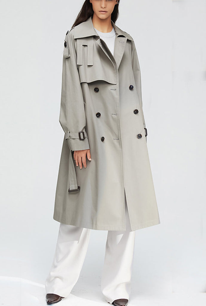 Multicolor Double-Breasted Long Trench Coat