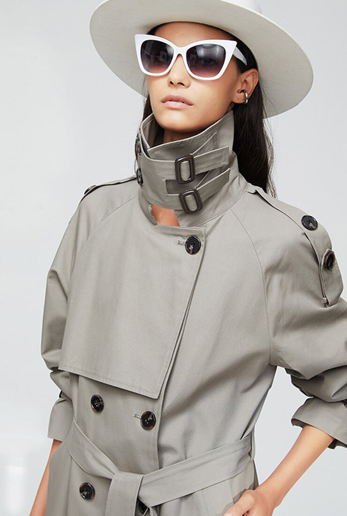 London Style  Double-Breasted Long Trench Coat