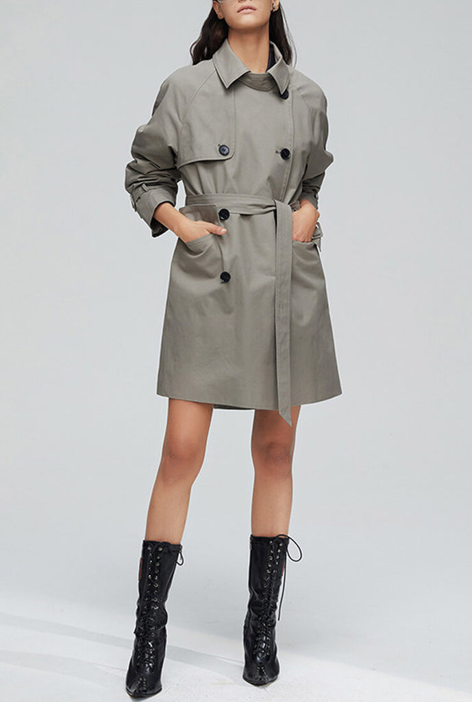 Multicolor Slim Long Trench Coat