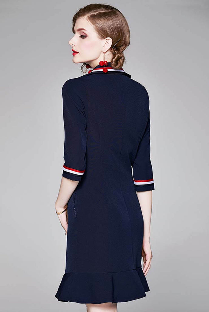Navy Style Fishtail Mini Tight Dress