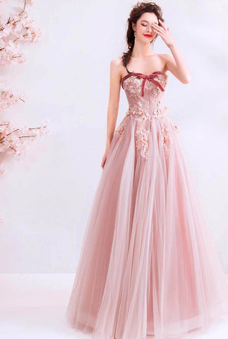 Off The Shoulder Lace Embroidered Tulle Pink Ball Gown