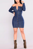 One-shoulder Tight Hip Sexy Denim Dress