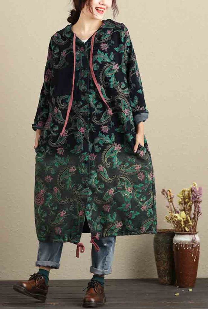 Oversize Cotton Floral Hooded Coat