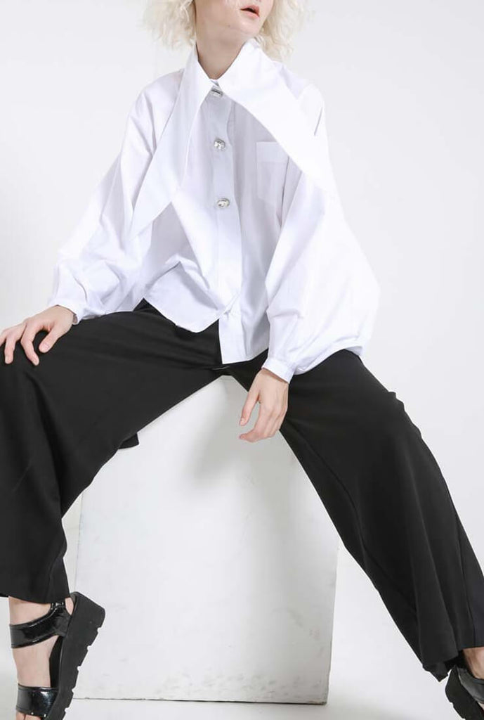 Oversize Loose Bright Long Collar White Shirt