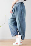 Oversized Distressed 100% Cotton Wide-Leg Jeans