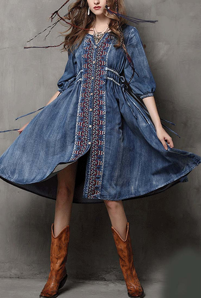 Oversized Ethnic Floral Embroidered Drawstring Denim Midi Dress