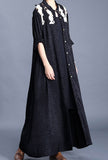 Spring Maxi Length Single-breasted Lace Embroidered Coat