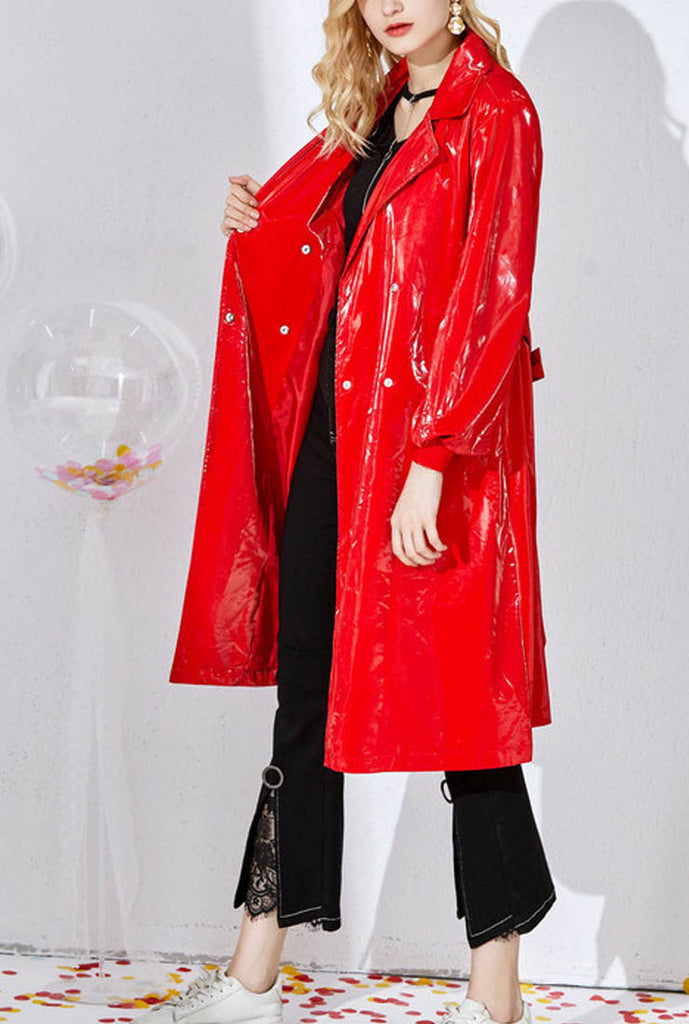 Patent Leather Shiny Mid-length Loose Coat