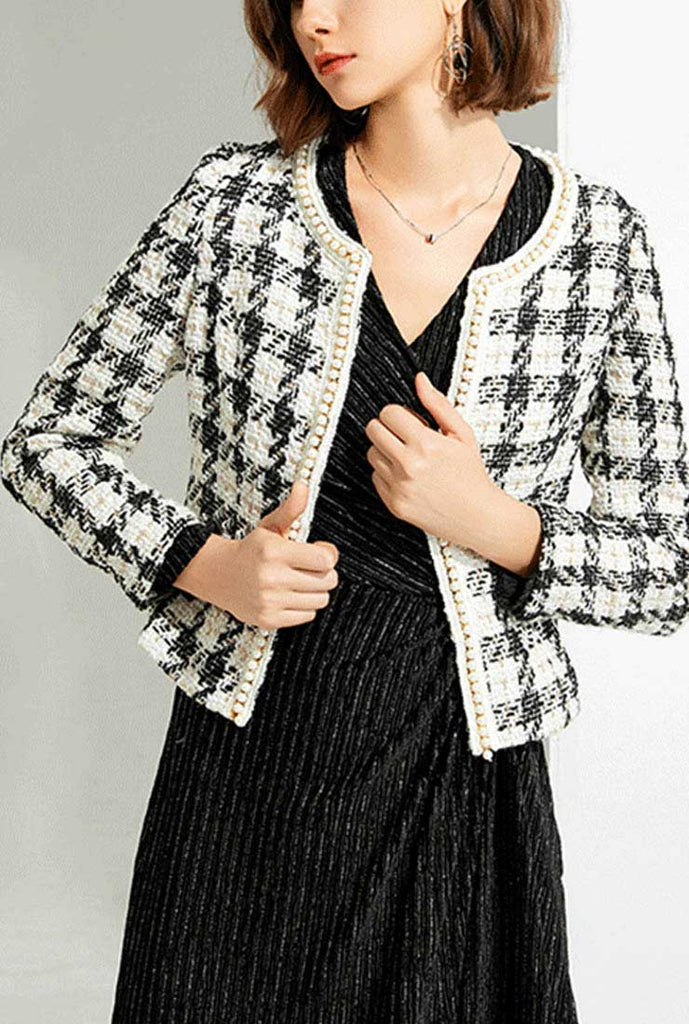 Pearl-trimmed Plaid Short Trench Coat