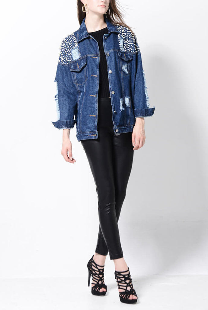 Pearl Hole Washed Denim Jacket