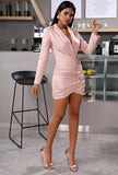 Pink Leather V-neck Bodycon Mini Dress