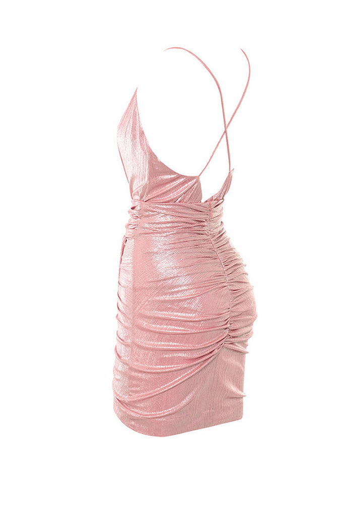 Pink Slip V-neck Backless Mini Dress