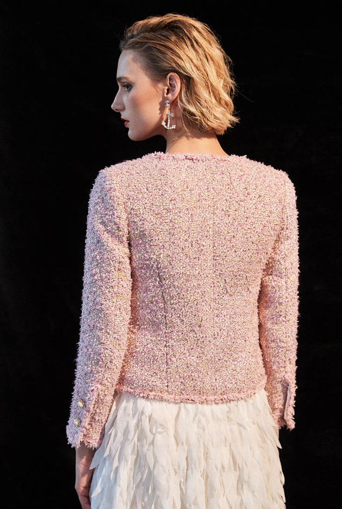 Pink Tweed Ladies Short Jacket