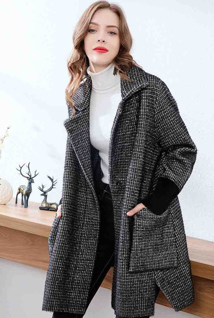 Plaid Loose Long Sleeve Lapel Mid-length Coat